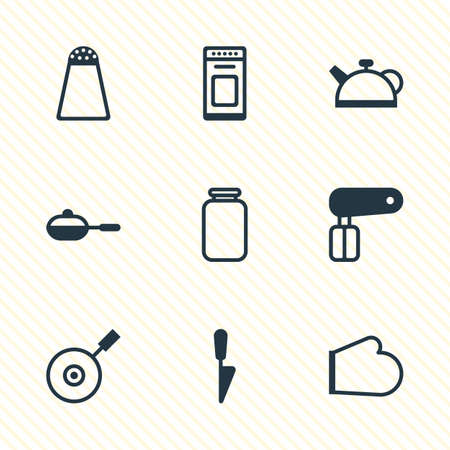 Vector illustration of 9 kitchenware icons. Editable set of pan, jar, kitchen glove and other icon elements.
