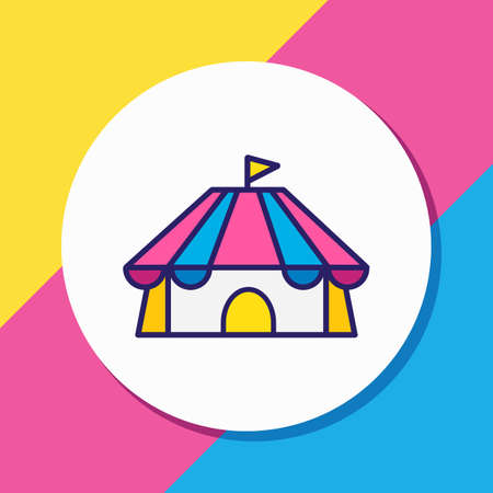 Vector illustration of cirque icon colored line. Beautiful lifestyle element also can be used as circus icon element.
