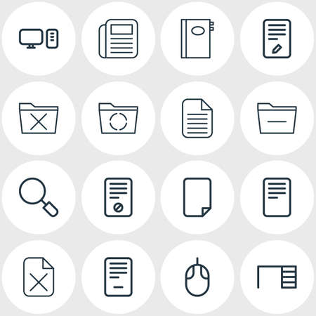 Vector illustration of 16 workplace icons line style. Editable set of uninstall, computer, document and other icon elements.