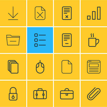 Vector illustration of 16 bureau icons line style. Editable set of computer mouse, coffee mug, minus and other icon elements.
