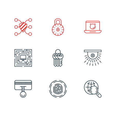 Vector illustration of 9 protection icons line style. Editable set of strong password, video control, secure access and other icon elements. Archivio Fotografico - 127255864