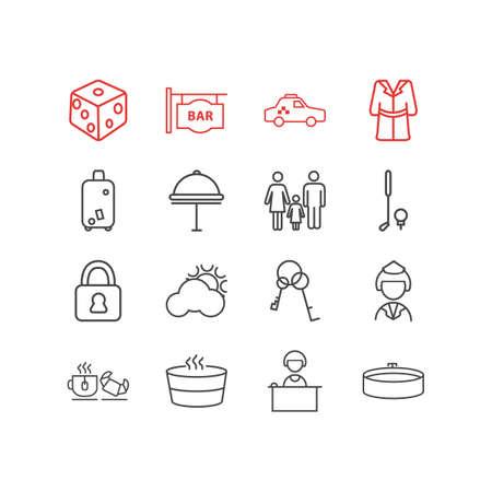 Illustration vectorielle de style de ligne 16 icônes de voyage. Ensemble modifiable de livraison d'hôtel, peignoir, coffre-fort et autres éléments d'icône.
