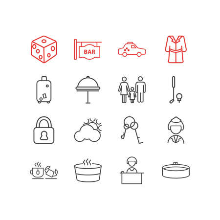 Vector illustration of 16 travel icons line style. Editable set of hotel delivery, bathrobe, safe and other icon elements.