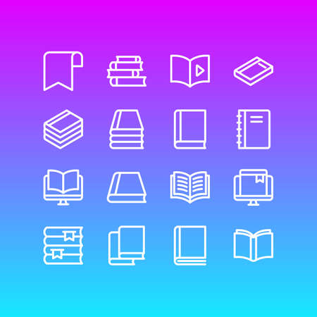 illustration of 16 book icons line style. Editable set of ribbon, tutorial, learn and other icon elements.