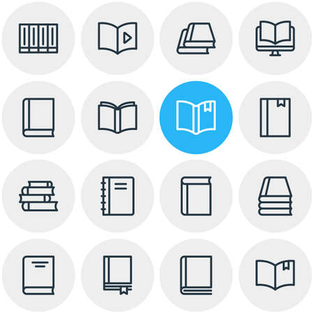 illustration of 16 book reading icons line style. Editable set of ebook, publication, textbook and other icon elements.