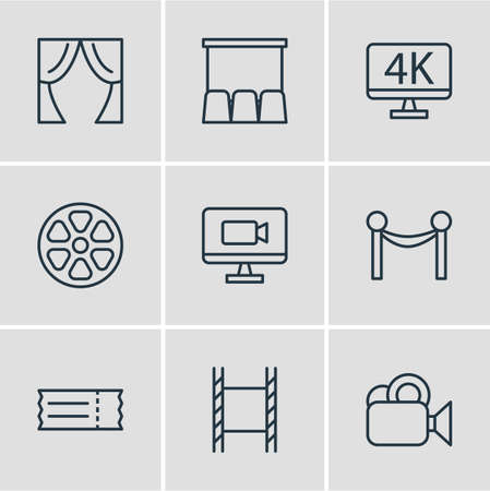illustration of 9 cinema icons line style. Editable set of barrier rope, 4k tv, cinema and other icon elements. 免版税图像