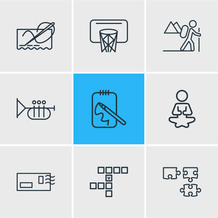 Vector illustration of 9 lifestyle icons line style. Editable set of postcrossing, hiking, yoga and other icon elements. Stok Fotoğraf - 112874928