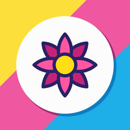 Vector illustration of flower icon colored line. Beautiful entertainment element also can be used as floral icon element.