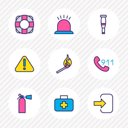 illustration of 9 extra icons colored line. Editable set of medical case, crutches, lifebuoy and other icon elements. 写真素材