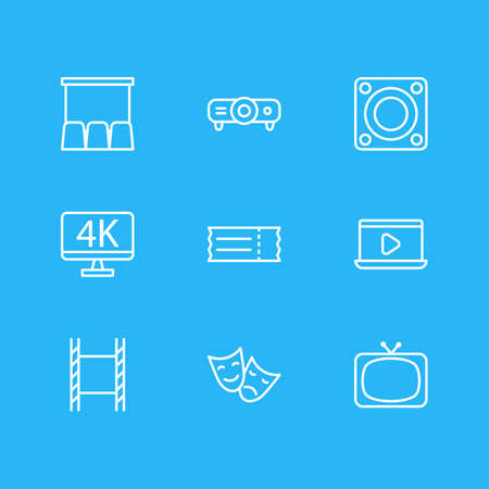 Vector illustration of 9 film icons line style. Editable set of movie on laptop, 4k tv, ticket and other icon elements.