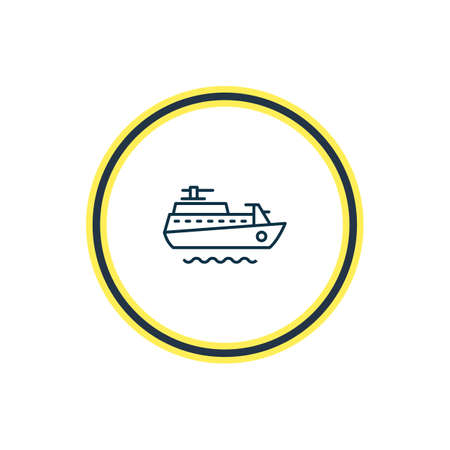 Vector illustration of ship icon line. Beautiful nautical element also can be used as vessel icon element.