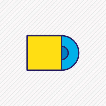 Vector illustration of cd-rom icon colored line. Beautiful accessory element also can be used as compact disk icon element.