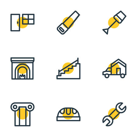 Vector illustration of 9 industry icons line style. Editable set of moving, spade, wrench and other icon elements. Illustration