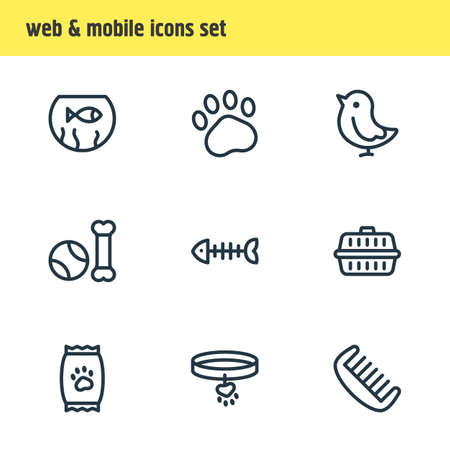 Vector illustration of 9 fauna icons line style. Editable set of fishbowl, paw, comb and other icon elements. Illustration