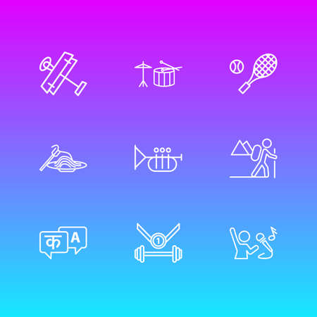 illustration of 9 activities icons line style. Editable set of hiking, pasta, sport and other icon elements. Stock Photo