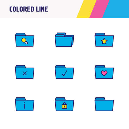 illustration of 9 document icons colored line. Editable set of protection, checked folder, delete folder and other icon elements. Imagens