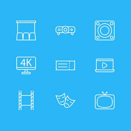 illustration of 9 cinema icons line style. Editable set of movie on laptop, 4k tv, ticket and other icon elements. 版權商用圖片