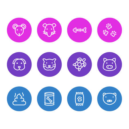 Vector illustration of 12 animal icons line style. Editable set of pet poo, kibble, dog food in can and other icon elements.
