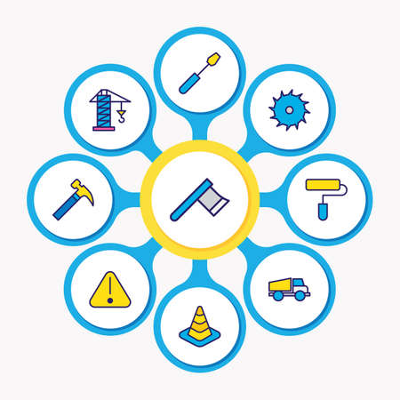 Vector illustration of 9 construction icons colored line. Editable set of hammer, cone, truck and other icon elements.