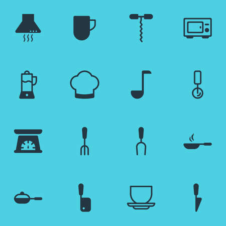illustration of 16 kitchenware icons. Editable set of ladle, juicer, corkscrew and other icon elements.