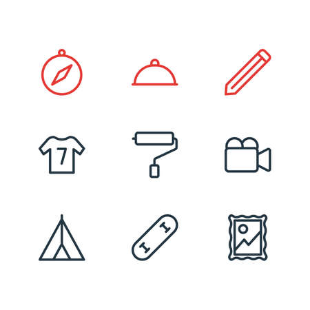 illustration of 9 lifestyle icons line style. Editable set of pencil, wall painter, video cam and other icon elements. 免版税图像