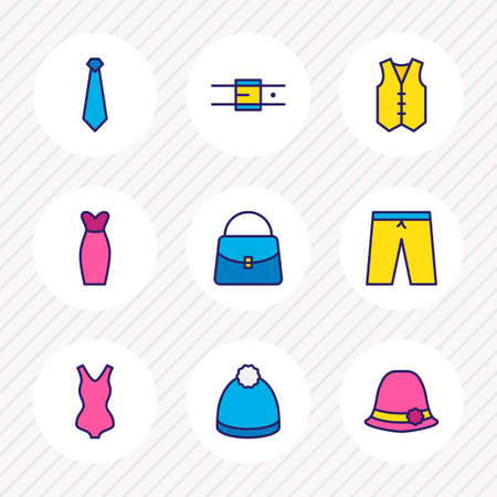 illustration of 9 dress icons colored line. Editable set of bag, belt, women hat and other icon elements. Stock Photo