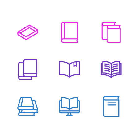 illustration of 9 book icons line style. Editable set of magazine, study, bookstore and other icon elements.
