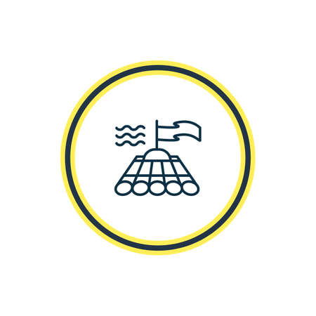 Vector illustration of bamboo raft icon line. Beautiful naval element also can be used as wooden boat icon element.