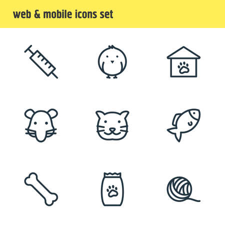 Vector illustration of 9 zoo icons line style. Editable set of fish, rat, cat and other icon elements.