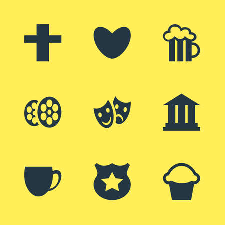 Vector illustration of 9 check-in icons. Editable set of academy, theatre, bakery and other icon elements.