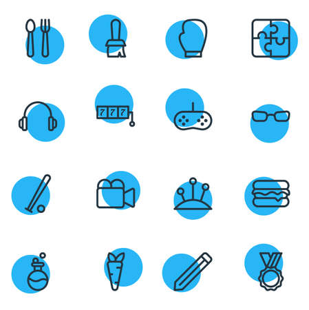 Vector illustration of 16 lifestyle icons line style. Editable set of award, video cam, pencil and other icon elements.