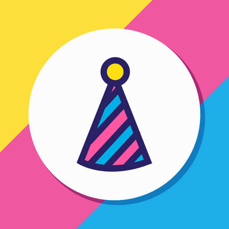 Vector illustration of clown cap icon colored line. Beautiful celebrate element also can be used as party hat icon element.