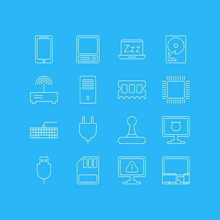 Vector illustration of 16 notebook icons line style. Editable set of protected PC, vintage computer, plug and other icon elements.