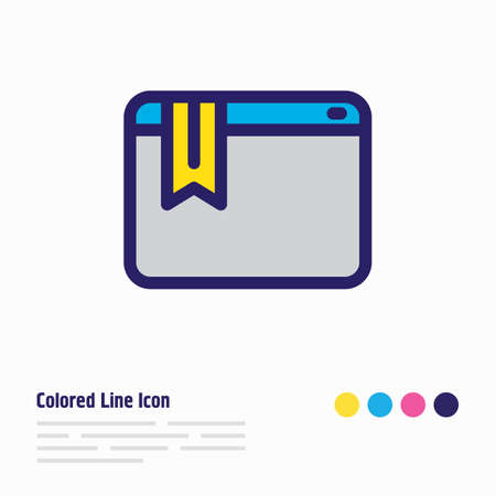 Vector illustration of bookmark service icon colored line. Beautiful advertising element also can be used as webpage ribbon icon element.