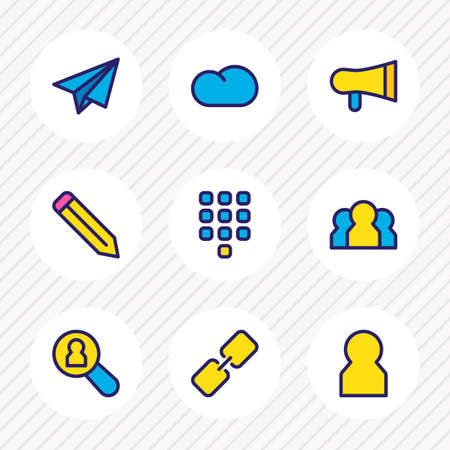 illustration of 9 connect icons colored line. Editable set of pen, search user, paper plane and other icon elements.