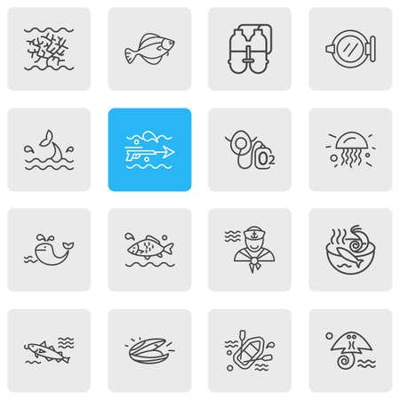 Vector illustration of 16 maritime icons line style. Editable set of jelly fish, sailor man, seafood soup and other icon elements.