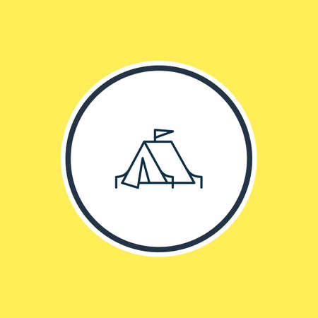 Vector illustration of camping tent icon line. Beautiful lifestyle element also can be used as tourism icon element.