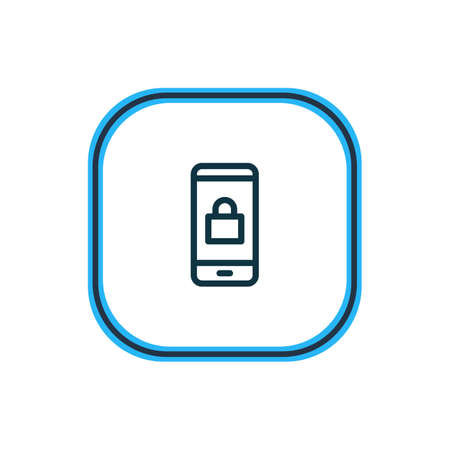 Vector illustration of locked icon line. Beautiful smartphone element also can be used as closed icon element. Çizim