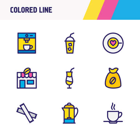 Vector illustration of 9 drink icons colored line. Editable set of mocca, coffee house, sugar and other icon elements. Çizim