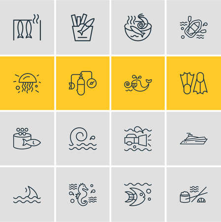 illustration of 16 naval icons line style. Editable set of flippers, jelly fish, oxygen balloons and other icon elements.
