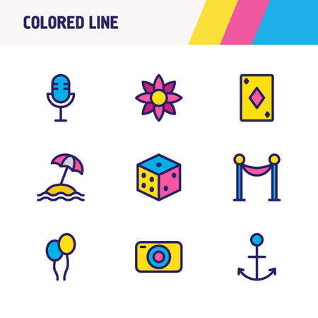 Vector illustration of 9 entertainment icons colored line. Editable set of microphone, barrier, balloon and other icon elements.
