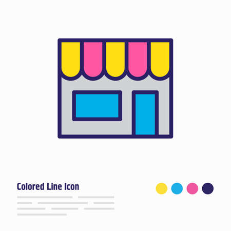 Vector illustration of shop icon colored line. Beautiful trading element also can be used as storefront icon element.