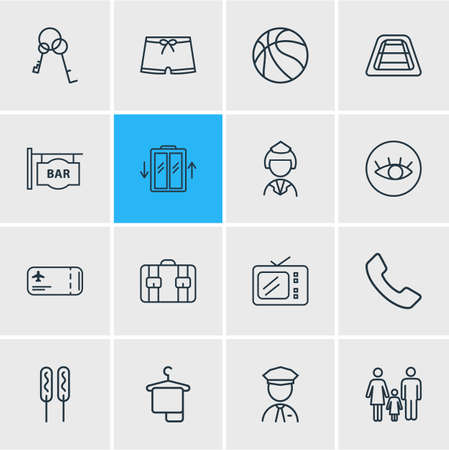 Vector illustration of 16 vacation icons line style. Editable set of flight ticket, security guard, view point and other icon elements. Illustration