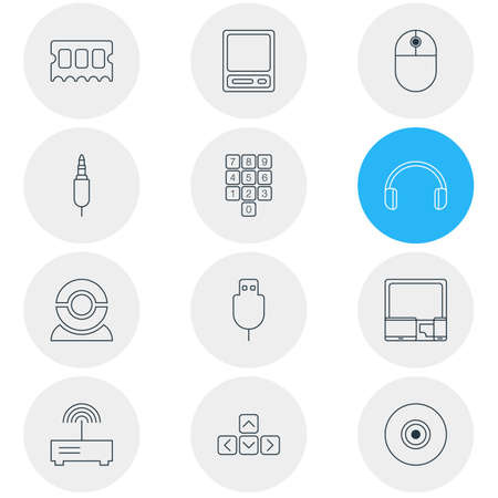 Vector illustration of 12 notebook icons line style. Editable set of modem, devices, usb cable and other icon elements.