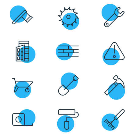 Vector illustration of 12 industry icons line style. Editable set of paintbrush, warning, axe and other icon elements.