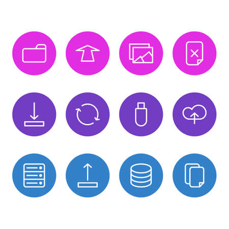 illustration of 12 memory icons line style. Editable set of cloud, delete file, sync and other icon elements.