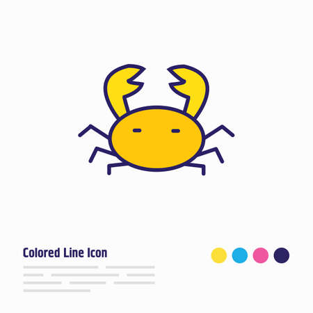 Vector illustration of crab icon colored line. Beautiful hotel element also can be used as cancer icon element. Illustration