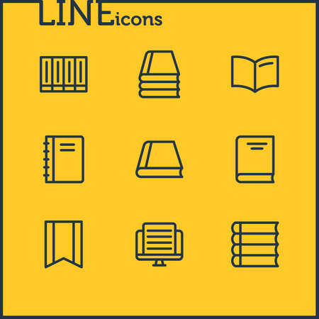 illustration of 9 book icons line style. Editable set of schoolbook, article, information and other icon elements. Stock Photo