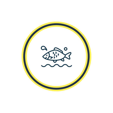 Vector illustration of aquatic icon line. Beautiful nautical element also can be used as carp fish icon element. Illusztráció