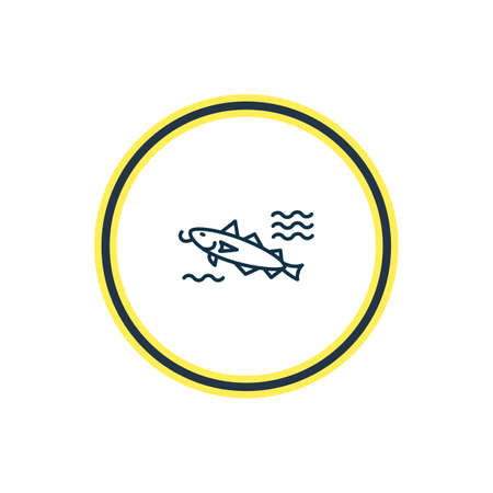 Vector illustration of cod fish icon line. Beautiful naval element also can be used as catfish icon element. Stock Illustratie